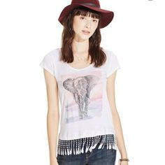 American Rag elephant fringe tee Elephant love with a twist of boho fringe will have you smiling and feeling great all day long. Two available. American Rag Tops Tees - Short Sleeve
