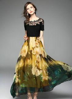#floryday Viscose Color Block Short Sleeve Maxi Casual Dresses #dress #maxi #casual #chic