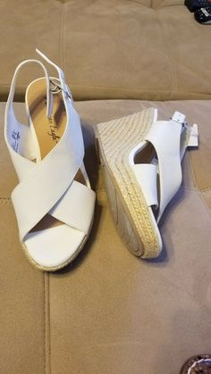 1888f2870f0a6 White Wedge sling back open toe Heel Size 9  fashion  clothing  shoes