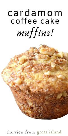 Cardamom Coffee Cake Muffins are layered with a cardamom streusel. Deliciously moist muffins inspired by the famous Moosewood Cookbook Cardamom Coffee Cake! Köstliche Desserts, Delicious Desserts, Dessert Recipes, Yummy Food, Brunch Recipes, Sweet Recipes, Breakfast Recipes, Breakfast Pastries, Coffee Cake Muffins