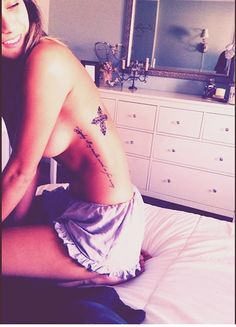 Sexy: Long Black Side Rib Quote Tattoos for Girls - Hot Side Rib Quote... - Tattoo