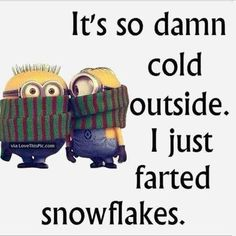 Its So Cold I Just Farted Snowflakes winter minion minions winter quotes winter humor minion quotes funny winter quotes quotes about winter winter humor quotes funny quotes about winter Funny Minion Pictures, Funny Minion Memes, Minions Quotes, Funny Jokes, Minion Humor, Funny Snow Pictures, Hilarious Quotes, Hilarious Pictures, Funny Work Quotes
