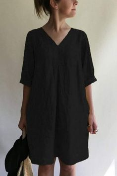 Solid V Neck Linen Tunic Dress – Amilyonline Mini Dress With Sleeves, Half Sleeves, Types Of Sleeves, Linen Tunic Dress, V Neck Midi Dress, Mini Vestidos, Cotton Linen, Short Sleeve Dresses, Clothes