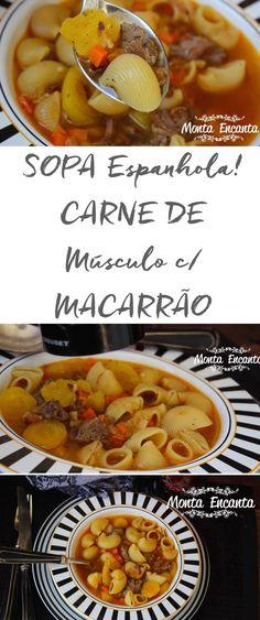 Sopa Espanhola, com carne de músculo com macarrão pipe rigatie da barilla, mais mandioquinha/batata baroa e cenoura bem picadinha!