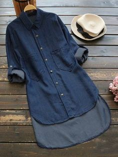 Sexy 2019 Women's Denim Dress Button Turn-Down Collar Shirt Dress Casual Straight Asymmetric Hem Dress with sleeves, plus sizes available Available in light denim and dark denim Available in SMALL to Please see sizing chart Casual Shirt Look, Casual Shirts, Dress Casual, Mode Abaya, Mode Hijab, Womens Denim Dress, Denim Shirt Dress, Denim Dresses, Shirt Blouses