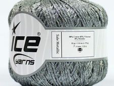 Lot of 6 Skeins ICE SALE METALLIC (50% Cotton 42% Viscose) Yarn Grey Silver