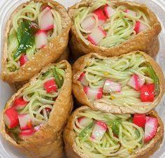 somen salad in cone sushi wrapper!