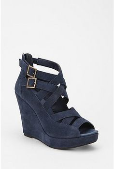 Suede strappy wedges.