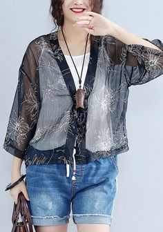 2018-casual-gray-prints-silk-cardigans-oversize-long-sleeve-tie-bust-tops