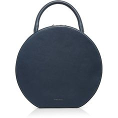 Mansur Gavriel Navy Leather Circle Bag ($1,095) ❤ liked on Polyvore featuring bags, handbags, shoulder bags, blue, genuine leather handbags, navy leather shoulder bag, blue leather purse, navy blue purse and blue shoulder bag