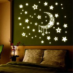 Glow Meteor Rain Moon & Stars Wall Sticker Combo Pack Home Deco Interior Kids Wall Stickers Room, Wall Decals, Smooth Walls, Star Wall, Star Stickers, Kids Room, Living Room, Meteor Rain, Home Decor