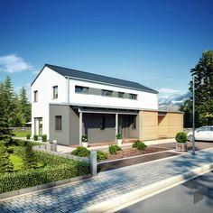 Duo 111 von Hanse Haus  ➤ Klicke auf das Bild um zu unserer großen Auswahl an Fertighäusern zu gelangen auf _____ www.Fertighaus.de _____ Einfamilienhaus, Fertigteilhaus, Eigenheim, Fertigbau, Haustypen, Hausbau, Architektur, Flachdach