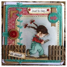 handmade card from Crafty Lou's Small World ... Annabel texting adorable image ... great coloring ... like the layout with die cut fence ... machine sewing .. lots of layers ... fun embellishments ... Lily of the Valley ...