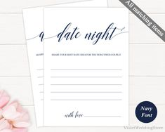 Navy Date Night Card Template. Printable Date Night Idea. Wedding Date Night Card. Modern Calligraphy Wedding Date Night Card. Donwload PDF http://etsy.me/2CP3I8z #papergoods #blue #wedding #white #date #night #card #game #navy