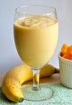 Mango, Pineapple, Banana, Orange Smoothie Recipe (serves 2-3):   1 Cup of frozen mango, cut into small chunks  1 Cup of frozen pineapple, cut into small chunks  3/4 of a ripe banana (just munch on the 1/4 left as you are prepping your smoothie!)  2/3 cup Greek yogurt  1 1/2 Cup of orange juice       Combine all ingredients in a blender and blend until smooth. Serve immediately. Voila!
