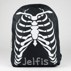 SKELETON Rib Cage BACKPACK w/ Bone Print on Straps! This bag is made with a thick canvas material and nylon lining. Has rib cage Screen Print on Front. Adjustable Straps with Skeleton Bts Backpack, Drawstring Backpack, Skeleton Bones, School Shopping, Emo Outfits, Rib Cage, School Backpacks, Canvas Material, Screen Printing