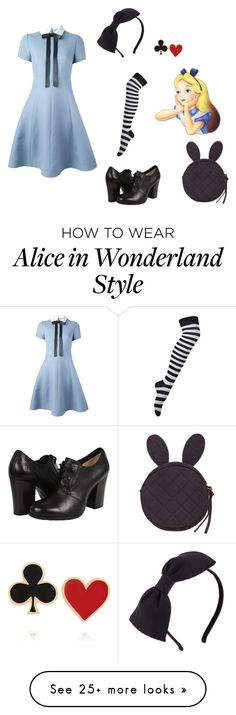 """""""Alice In Wonderland"""" by hrwnessy on Polyvore featuring Valentino, Kate Spade, Frye, Alison Lou, disney, Alice and Halloween2015"""