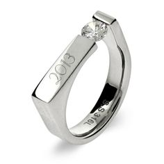 Rectangle Graduation Class Ring with CZ, $32 #graduation #gifts #classrings