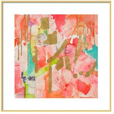 Watercolor Coral Pink Abstract Art Print by LimezinniasDesign