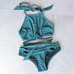 minkpink - oceans criss cross bikini separates in dark teal - mix & match - shophearts - 1