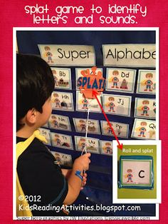 A personalized alphabet chart for boys! And a flyswatter and dice game to use for repetition!