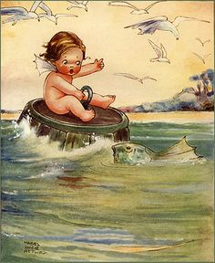 Water Babies illustration by Mabel Lucie Attwell Vintage Children's Books, Vintage Postcards, Vintage Art, Art And Illustration, Vintage Illustrations, Fairy Paintings, Vintage Fairies, Vintage Pictures, Childrens Books