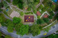 Aerial shots of playgrounds in Singapore