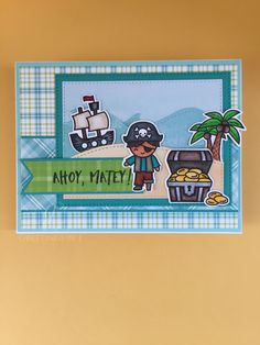 Lawn Fawn Ahoy Matey; Ocean Hillside Pop-Up, Stitched Hillside Borders; Perfectly Plaid, Perfectly Plaid Rainbow, Watercolor Wishes paper packs; OWH sketch 218