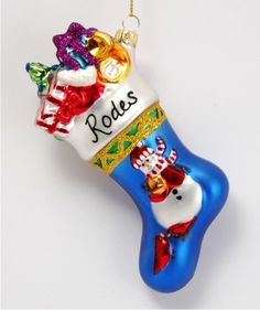 Snowman Blue Stocking with Toys Christmas Ornament