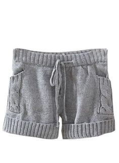 Grey Drawstring Cable Knit Sweater Shorts pictures