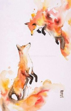 Image of Hot Love by Luqman Reza Mulyono (Jongkie) - foxes watercolor, fox art Animal Paintings, Animal Drawings, Cool Drawings, Fox Art, Painting & Drawing, Watercolor Drawing, Fox Painting, Animal Watercolour, Watercolor Pictures