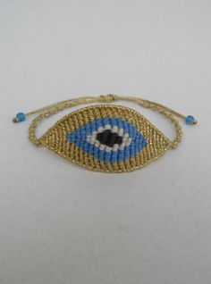 Evil eye macrame bracelet,all seeing eye,adjustable,macrame eye