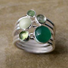 Stacking Rings Sterling Silver, Green Aventurine Chrysoprase Jade Amethyst Peridot