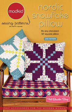 Nordic Snowflake Pillow Sewing Pattern Modkid Sewing Patterns - Fat Quarter Shop, love this!