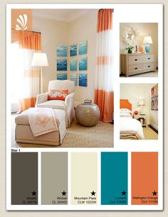 I think red in the palette instead of orange.   Teal couch