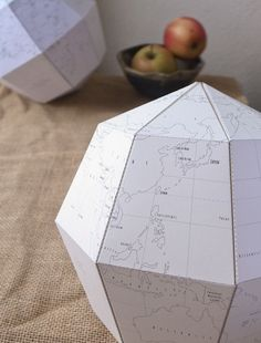 #diy paper globe, free printable I want to print a few of these and hang them with paper lanterns in different blues in the kids room