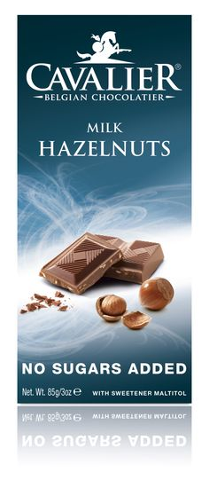 Tablet with sweetener Maltitol, milk chocolate with pieces of hazelnut. Cavalier the pioneer in no sugars added chocolate.
