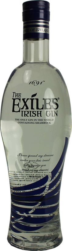 Gin von The Exiles in der l Flasche mit % Vol. Scotch Whiskey, Irish Whiskey, Liquor Bottles, Vodka Bottle, Gins Of The World, Gin Tasting, Gin Lovers, Bottle Packaging, Water