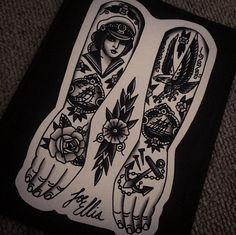 Traditional tattoos - Flash Art by Joe Ellis. Sailor tattoos - So nice!