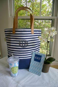 Striped Tote Gift Idea #monograms #greek gift  monogramshopping.com