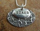 """""""Born in my heart"""" adoption pendant by Junk Posse"""