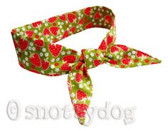 Strawberry fabric cooling bandana £12 from snottydog - hand made in Cambridgeshire, to keep hot people cool..!