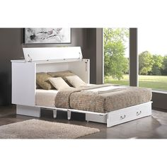 Get the Arason Creden-ZzZ Queen White Cottage Cabinet Bed, which is a Low cost alternative to Murphy Bed and a great option for your beach or coastal home. Queen Murphy Bed, Murphy Bed Ikea, Murphy Bed Plans, Queen Size Bedding, White Bedding, Bedding Sets, Style Tudor, Fold Out Beds, Modern Murphy Beds