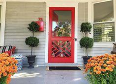 New Ideas red front door paint color interiors Front Door Paint Colors, Painted Front Doors, Glass Front Door, Sliding Glass Door, Glass Storm Doors, Glass Doors, Wooden Screen Door, Screen Doors, Front Door Makeover