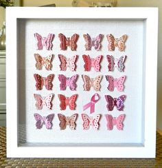 Breast Cancer Pink Ribbon 3D Butterfly Shadowbox via Etsy