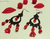 Boucles d'oreilles Bronze Glamour Rouge & Bordeau : Boucles d'oreille par heaven-s-shop