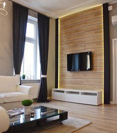 parement mural salon en planches de bois et rubans lumineux LED