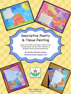 LOVE this!!!!  Descriptive Poetry & Tissue Painting - lessons for grades 3-8 with flapbook, mini poetry toolbox, writer's conferencing sheets, full teacher directions and more! $ Favorite poetry lessons ever!