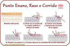 Punto enano, raso, corrido - Slip stitch - вязание крючком пунктов                                                                                                                                                                                 Más