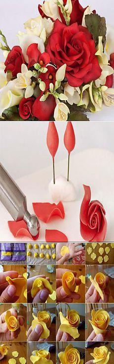 Роза из мастики мастер класс